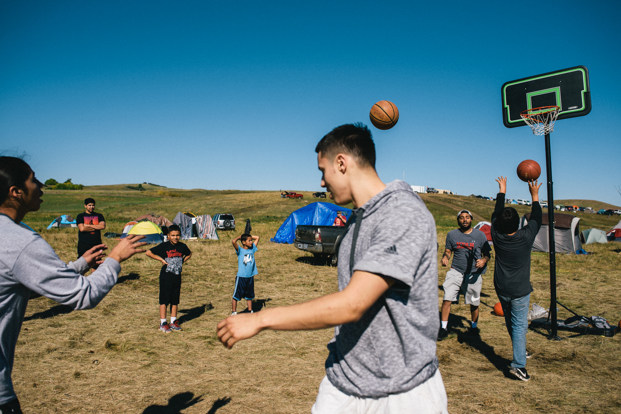 Bronson Koenig joins members of the Dakota Access Pipeline protests near Bismarck, North Dakota on September 17, 2016.(Photo by Alexandra Hootnick/The Players' Tribune)