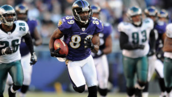 Baltimore Ravens wide receiver Mark Clayton runs the ball for a touchdown against the Philadelphia Eagles during a NFL football game Sunday, Nov. 23, 2008 in Baltimore.(AP Photo/Gail Burton)