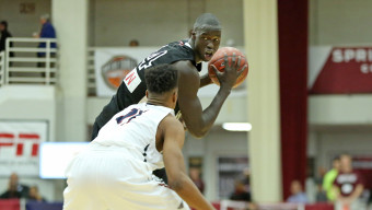 Athlete Institute's Thon Maker #14 in action against Findlay College Prep during a high school basketball game in the Hoophall Classic at Springfield College on Saturday, January 16, 2016 in Springfield, MA.  (AP Photo/Gregory Payan)