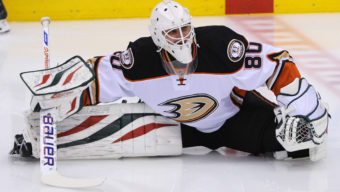 December 16, 2014: Anaheim Ducks Goalie Ilya Bryzgalov (80) [2252] in warm ups before the Toronto Maple Leafs 6-2 victory over the Anaheim Ducks at Air Canada  Centre in Toronto, ON (Icon Sportswire via AP Images)