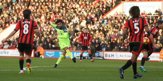 Editorial use only. No merchandising. For Football images FA and Premier League restrictions apply inc. no internet/mobile usage without FAPL license - for details contact Football DatacoEmre Can of Liverpool scores a goal to put Liverpool 3-1 up AFC Bournemouth v Liverpool, Premier League 2016/17, Football, Vitality Stadium, Bournemouth, Dorset, Britain. 4 DEC 2016 (Rex Features via AP Images)