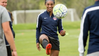 Crystal Dunn during a practice for the Washington Spirit at the Maryland SoccerPlex in Boyds, Maryland.  (photo by Allison Shelley)