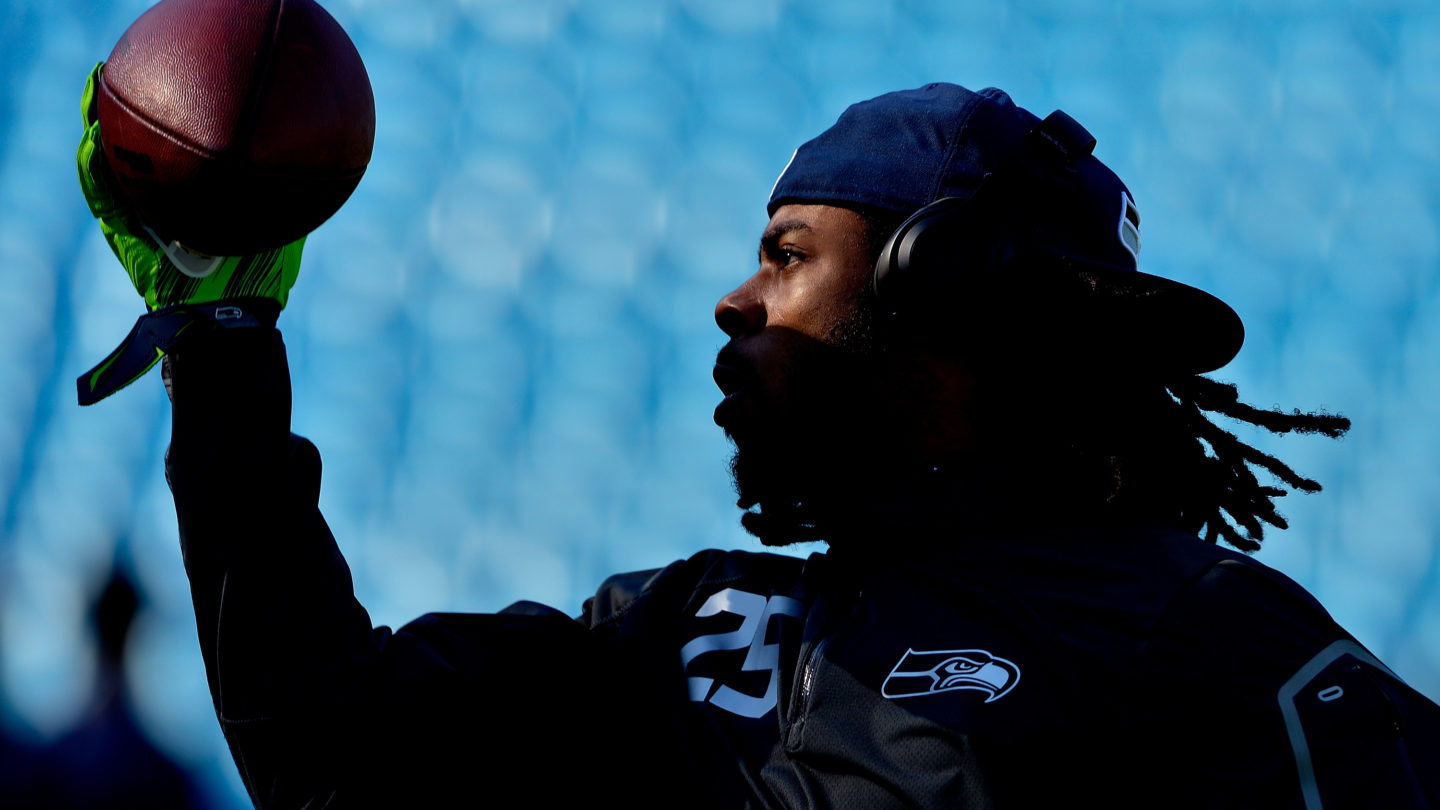 CHARLOTTE, NC - OCTOBER 26:  Richard Sherman #25 of the Seattle Seahawks warms up before a game against the Carolina Panthers at Bank of America Stadium on October 26, 2014 in Charlotte, North Carolina.  (Photo by Grant Halverson/Getty Images)