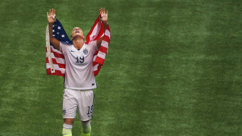 VANCOUVER, BC - JULY 05:  Julie Johnston #19 of United States of America celebrates after winning the FIFA Women's World Cup 2015 final match between USA and Japan at BC Place Stadium on July 5, 2015 in Vancouver, Canada.  (Photo by Maddie Meyer - FIFA/FIFA via Getty Images)