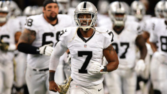 DETROIT, MI - NOVEMBER 22:  Marquette King #7 of the Oakland Raiders runs onto the field prior to the game against the Detroit Lions at Ford Field on November 22, 2015 in Detroit, Michigan. The Lions defeated the Raiders 18-13.  (Photo by Mark Cunningham/Detroit Lions/Getty Images)