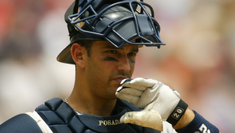 ARLINGTON, TX - MAY 23:  Portrait of catcher Jorge Posada #20 of the New York Yankees during their game against the Texas Rangers at Ameriquest Field in Arlington on May 23, 2004 in Arlington, Texas.  The Yankees won 8-3.  (Photo by Ronald Martinez/Getty Images)