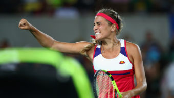 RIO DE JANEIRO, BRAZIL - AUGUST 13:  Monica Puig of Puerto Rico reacts during the Women's Singles Gold Medal Match against Angelique Kerber of Germany on Day 8 of the Rio 2016 Olympic Games at the Olympic Tennis Centre on August 13, 2016 in Rio de Janeiro, Brazil.  (Photo by Clive Brunskill/Getty Images)