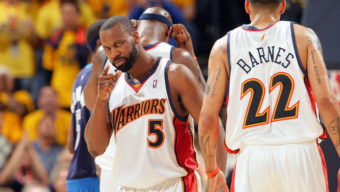 OAKLAND, CA - APRIL 27:  Baron Davis #5 of the Golden State Warriors points across the court in Game Three of the Western Conference Quarterfinals against the Dallas Mavericks during the 2007 NBA Playoffs at Oracle Arena on April 27, 2007 in Oakland, California.  The Warriors won 109-91.  NOTE TO USER: User expressly acknowledges and agrees that, by downloading and/or using this Photograph, user is consenting to the terms and conditions of the Getty Images License Agreement. Mandatory Copyright Notice: Copyright 2007 NBAE  (Photo by Rocky Widner/NBAE via Getty Images)