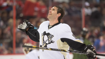 Apr 22 2013; Ottawa, ON, CAN; Pittsburgh Penguins left wing Pascal Dupuis (9) during warm up prior to game against the Ottawa Senators at Scotiabank Place. Mandatory Credit: Marc DesRosiers-USA TODAY Sports