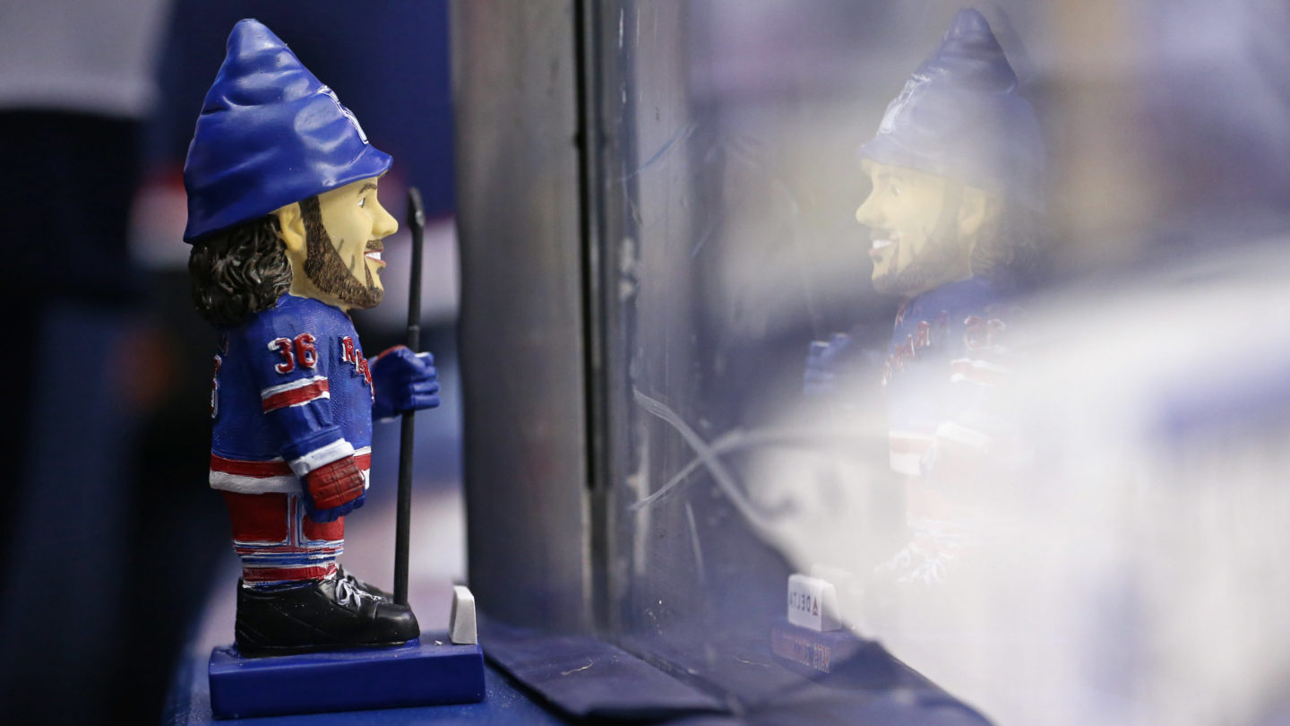 Apr 4, 2016; Columbus, OH, USA; A general view of a gnome statue of New York Rangers right wing Mats Zuccarello (36) during warmups prior to the game against the Columbus Blue Jackets at Nationwide Arena. Mandatory Credit: Aaron Doster-USA TODAY Sports