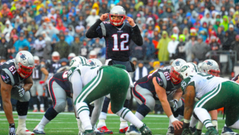 Dec 24, 2016; Foxborough, MA, USA;  New England Patriots quarterback Tom Brady (12) signals to his offensive line during the first half against the New York Jets at Gillette Stadium. Mandatory Credit: Bob DeChiara-USA TODAY Sports